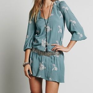 Free people Austin embroidered flower blue dress